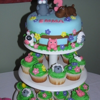 Farm Animal Cake And Cupcakes