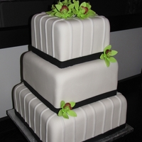 Green Orchid Wedding Cake