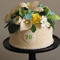 70Th Birthday Cake MM Fondant with Gumpaste Flowers