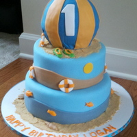 Beach Ball Birthday Party was blue and orange. Beach ball was made from the ball pan.