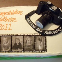 Camera graduation cake for a friend. she wants to be a photographer. camera is fondant rest BC