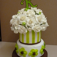 "Lime Green Cake   6"" and 8"" cakes covered in fondant with gumpaste flowers."