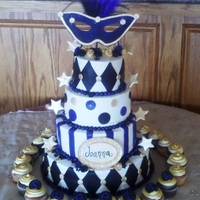 Sweet 16 Masquerade Buttercream with fondant details. Mask was fondant also.