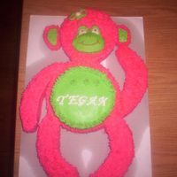 Pink Monkey This cake was very fun to make and a one of a kind. I was very proud of it. It is made of two 10' and a 6' cake pan.The tummy is...