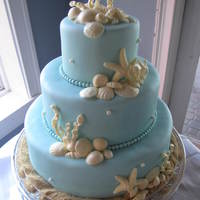 Beach Wedding Cake   Almond cake with white chocolate cream cheese icing covered in satin ice baby blue fondant. White chocolate shells and coral.