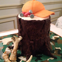 "The Hunt Is Over Groom's Cake Hunting-themed groom's cake for a wedding on the opening day of deer season. Message carved in the trunk says, ""The..."