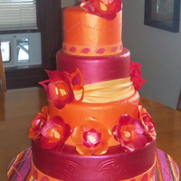 Paisley And Fantasy Flower Wedding Cake Inspired by a vibrant paisley men's neck tie.