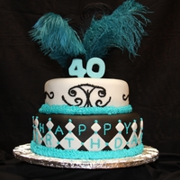 40Th Birthday Celebration 2-tiered custom feather top cake