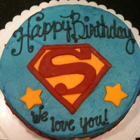 Superman Cake Made this cake for my husband's birthday. It was my daughter's idea to make it Superman themed!