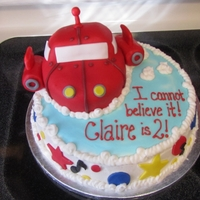Claire's 2Nd Birthday Cake Little Einstein's cake, WASC with buttercream, fondant accents. Rocket was sculpted from cake and covered in fondant. The boosters on...