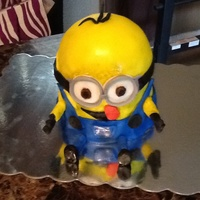 Despicable Me Minion Cake My First Minion Cake I Made For My Little Niece Cake Was Chocolate And White White Icing And Covered With Fondan... Despicable Me Minion Cake, my first Minion cake I made for my little niece. Cake was chocolate and white white icing and covered with...