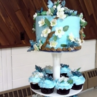 Butterfly Shower Cake And Cupcakes Gumpaste flowrs and butterflies