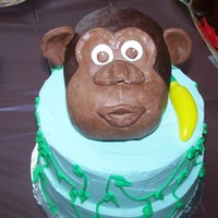 Monkey Cake my first attempt at a rkt animal (head), covered in modeling chocolate, got my inspiration from here