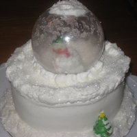 Snow Globe Snow globe with a Snowman inside. Globe is a coke bottle. Crystal sugar on buttercream. Snowman and tree are candy ring pops from dollar...