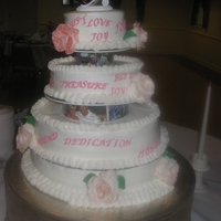 Pink And White Wedding Cake Sisters wedding cake buttercream lettering and roses are gumpast. My first Wedding Cake