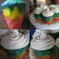 Rainbowlicious Cupcakes Hmmm, not sure where I went wrong but these are soooooooo top heavy (w/o frosting)-- I baked them in my new Noricware Ice Cream Cone...