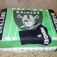 Chocolate Ice Cream Cake For My Grandson Hes A Big Raiders Fan Iced In Whipped Cream Fondant Accents Chocolate ice cream cake for my grandson. He's a big Raiders fan. Iced in whipped cream, fondant accents.