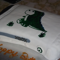 Xbox 360 Birthday Cake Xbox 360 on its side with a painted trex wearing a monacle for my friends 20th bday