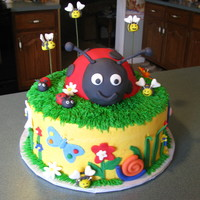 Lady Bug Cake Lady Bug cake iced in buttercream with fondant accents. Smash cake iced then covered with buttercream. I worked on this one with Diane M.