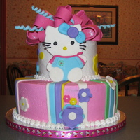 Hello Kitty Cake Iced in buttercream with fondant and gumpaste accents. Dual effort with Diane M.