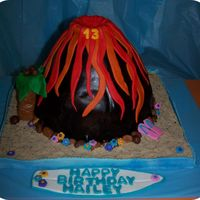 Volcano Birthday Cake Covered in MMF. Carved volcano. TFL
