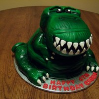 T-Rex Used wonder pan and added several round layers of cake to that. Head and legs are RKT. Covered in MMF and airbrushed, with MMF eyes and...