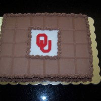Ou Grooms Cake 11x15 sheet cake with fondant accents. TFL