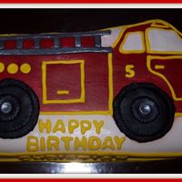Firetruck Birthday Cake Firetruck, used the Wilton Character pan, covered with MMF, the red part was airbrushed. TFL.