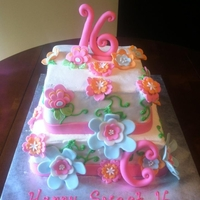 Sweeet 16 Cake Friend gave me her cake plates and asked me to match them. Buttercream Icing with fondant flowers