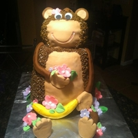Monkey Birthday Cake Monkey cake made with buttercream and fondant accents.