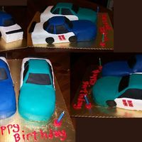 Mom's Birthday Cake This is a WASC (or WVSC; Mom doesn't like almond!), hand-carved cakes of Dale Earnhardt Jr's race cars, covered in fondant. I...