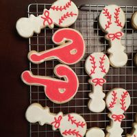 Phillies Baby Shower Cookies Phillies P and baseball rattles