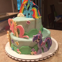 My Little Pony modeling chocolate ponies, gumpaste rainbow