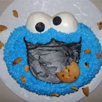 Cookie Monster I used the Elmo pan for this cake w/ the grass tip for the fur. It is a double layer vanilla cake filled with homemade chocolate whipped...