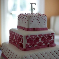 Pink Damask shw wanted a pink wedding cake! i think it turned out beautiful