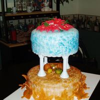 My First Tiered Cake This is my first tiered cake. I created it as my final cake during the Wilton class three in 2005. The pumpkins were created out of...