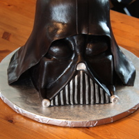 "Darth Vader 2 8"" cakes, 2 6""cakes and a half of a ball pan stacked and covered in MMF. Thank you so much to bakinggirl for the fabulous..."