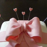 Pink Bow And Heart Crown Birthday Cake My third cake, a gift for a friends birthday. My second fondant bow and first attempt using wires for the crown. I wanted to use some...