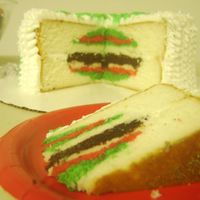 Christmas Tree Cake   This is a white cake with ruffled christmas tree on the outside and an ornament inside. It came out ok. I will try again.