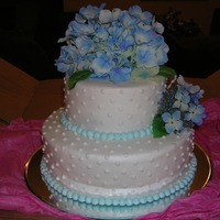 Hydrangea Wedding Cake 9 & 6 inch round WASC - Made this for a very small wedding with the bride wearing blue. Buttercream icing and silk fowers. Thank you