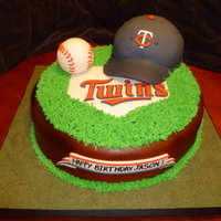 Twins Cake   Idea borrowed from a couple of other cakes listed. . Baseball is fondant covered RKT. The hat is fondant covered yellow cake.