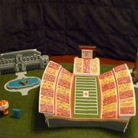 Uni Football Cake for a friend who graduated from ISU (Iowa State University) .Stadium is all cake. Tower is RKT covered with fondant.