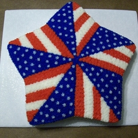 Patriotic Pinwheel Star shaped pan, sides iced smooth and pinwheel design filled in with stars and did a star border on bottom. Quick and easy to do.