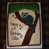 "Raccoon Raccoon cake made for a boy that liked to go ""coon"" hunting!"