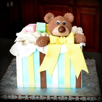 Bear Baby Sgower 8 inch german chocolate cake .All fondant .Block are wilton baby blocks.