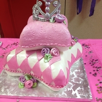 Princess Birthday Vanilla cake with white chocolate ganache and strawberriy filling .