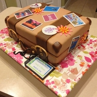 Suitcase Cake all fondant, tags were printed on rice paper then put on fondant