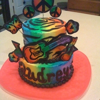 "Birthday Cake Buttercream ""spray painted"", Fondant accents"