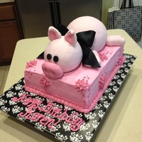Pig Cake Pig made of RC treats covered in fondant, cake covered in buttercream.