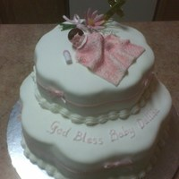 Baby Baptismal Fondant with fondant blanket, baby figurine and silk ribbon